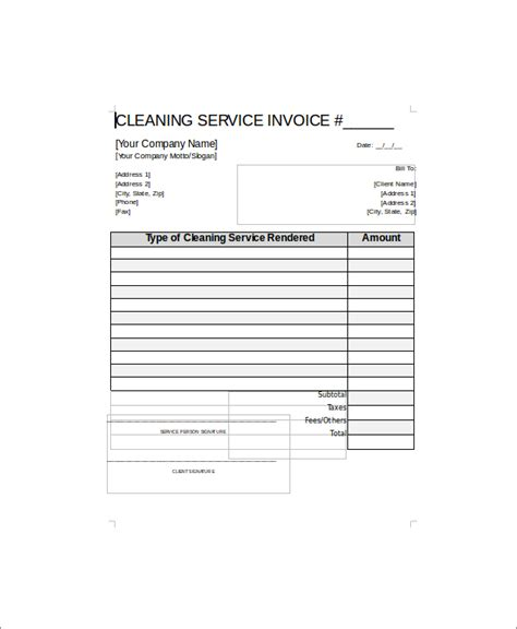 5 Sle Cleaning Service Receipts Sle Templates Cleaning Company Invoice Template