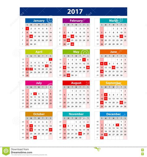 color of 2017 2017 calendar holidays usa illustration vector template of color 2017 calendar stock vector