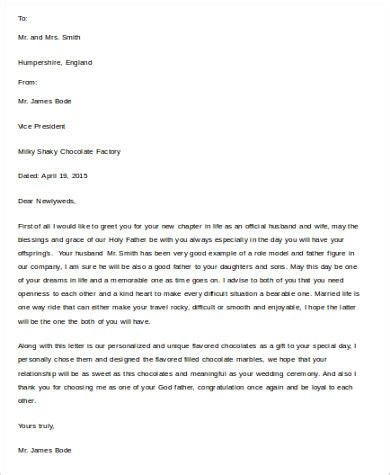 Wedding Congratulations Letter Format by Sle Congratulation Letter 11 Exles In Word Pdf
