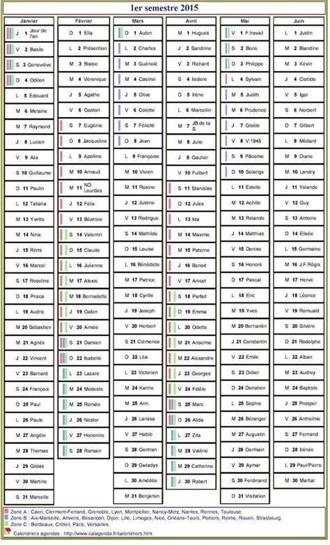Calendrier Des Fetes A Souhaiter Calendrier 2015 224 Imprimer Semestriel Avec Les F 234 Tes