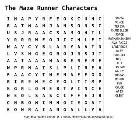 printable pictures of the maze runner download word search on the maze runner characters