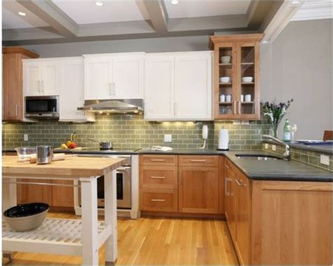 superb gray and white backsplash tile #4: wood-lower-white-upper-cabinets.jpg?resize=578%2C463