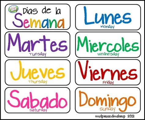 days of the week coloring pages in spanish spanish days of the week various printables homeschool