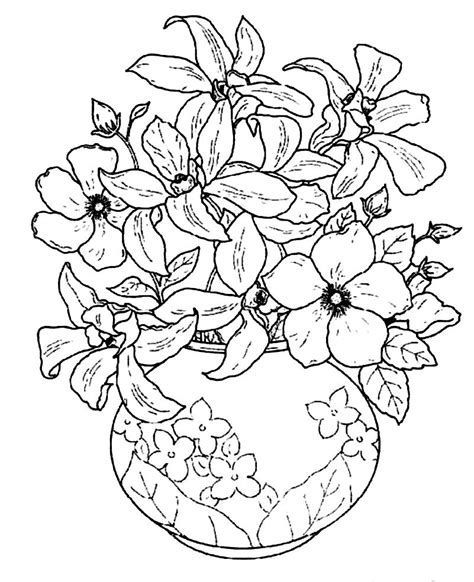 Flowers In Vase Coloring Pages by Beautiful Flower Vase Silk