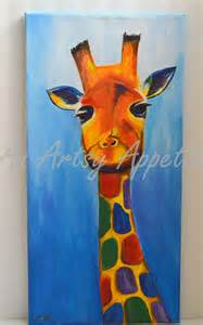 colorful giraffe painting colorful baby giraffe acrylic canvas painting an artsy