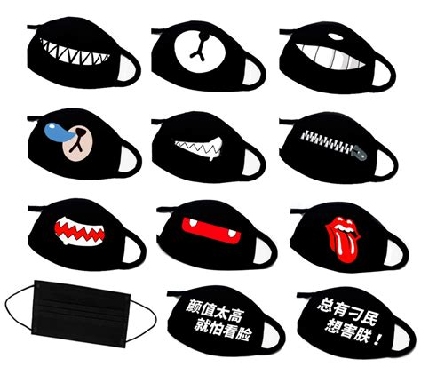 Masker Supreme Masker Bape new ayo and teo masks black panda smile teeth