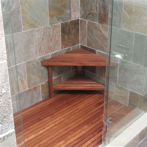 custom teak shower bench deluxe teak corner shower bench made in america