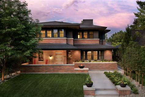 modern frank lloyd wright style homes frank lloyd wright inspired home with lush landscaping