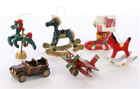 collection of 32 vintage look mini wooden christmas