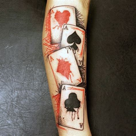 tattoo ink from playing cards 90 playing card tattoos for men lucky design ideas