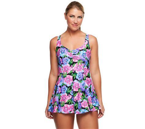 silver by gottex swimwear silver by gottex blooming rose swim dress a234089 qvc com