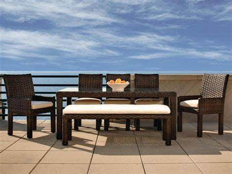 outdoor dining bench lloyd flanders contempo outdoor wicker dining set with