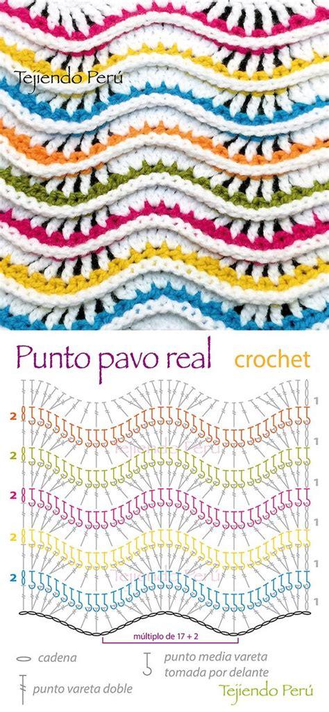 puntada pavoreal en aujas crochet diagrama del punto pavo real s 243 lo se repiten dos