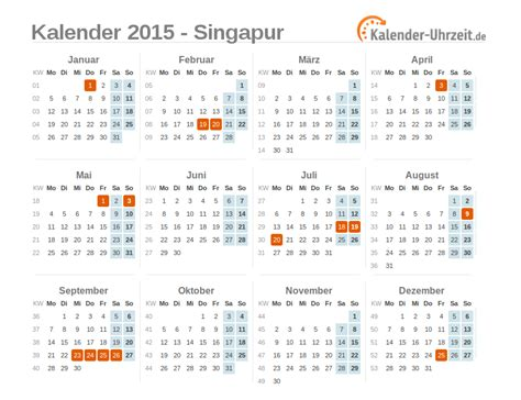 Feiertage Kalender 2015 Feiertage 2015 Singapur Kalender 220 Bersicht