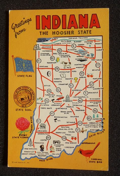 printable state postcards 1960s indiana state map icons landmarks in postcard ebay
