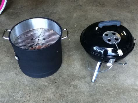 Jo In Dogs Out Kettle weber mini smokey mountian cooker disassembled and turned