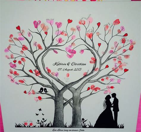 Hochzeit Leinwand by Wedding Tree Herz Fingerabdruck Baum Hochzeit Geschenk