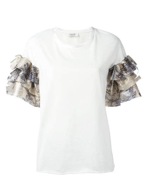 Ruffle Sleeve T Shirt aviu ruffle sleeve t shirt in white lyst