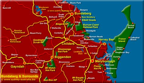 map of australia and surrounds bundaberg surrounds map queensland