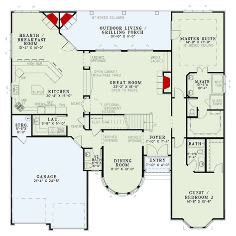 elegant single story 19187gt 1st floor master suite elegant european house plan with two story turret