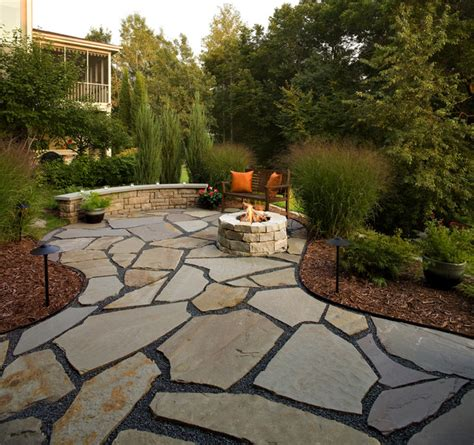 backyard stone patio flagstone patio and natural stone fire pit traditional