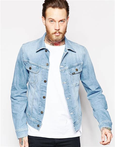 Mens Light Wash Denim Jacket by Denim Jacket Slim Fit Rider Light Wash Stretch