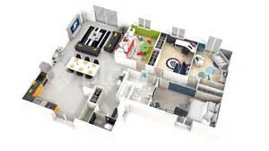 plan plain pied 4 chambres 3d