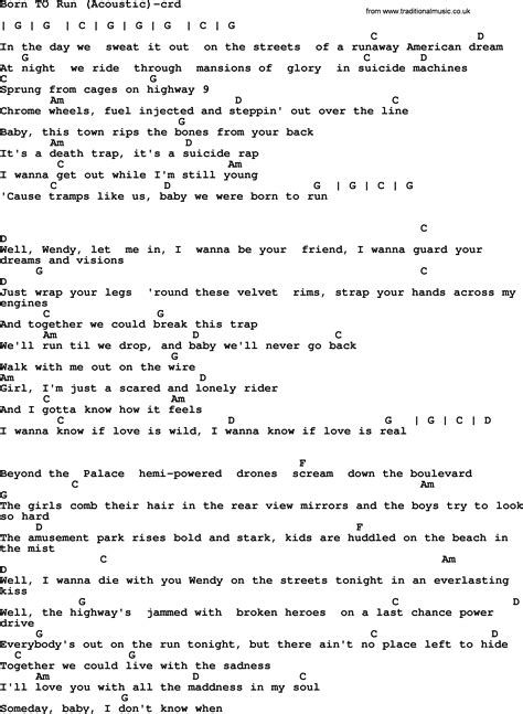 springsteen lyrics bruce springsteen born to run lyrics www pixshark