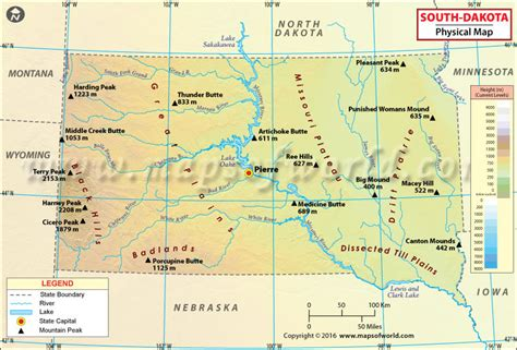 south dakota in usa map physical map of south dakota south dakota physical map