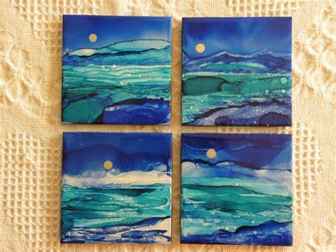 Painting On Ceramic Tile Craft by Items Similar To Hand Painted Alcohol Ink Coasters 4 1 4 X 4 1 4 Ceramic Tile Quot Blue