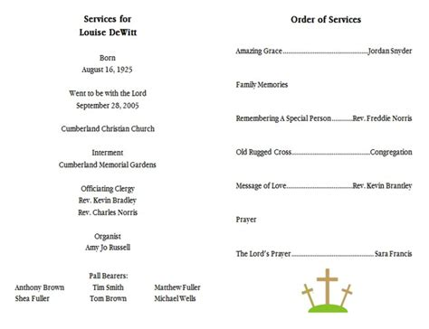 memorial order of service template 10 best images of funeral memorial programs templates