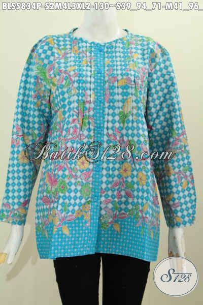 Blus Lengan Lonceng Warna Bata blus batik kerja lengan panjang warna keren motif bagus proses printing baju batik kancing