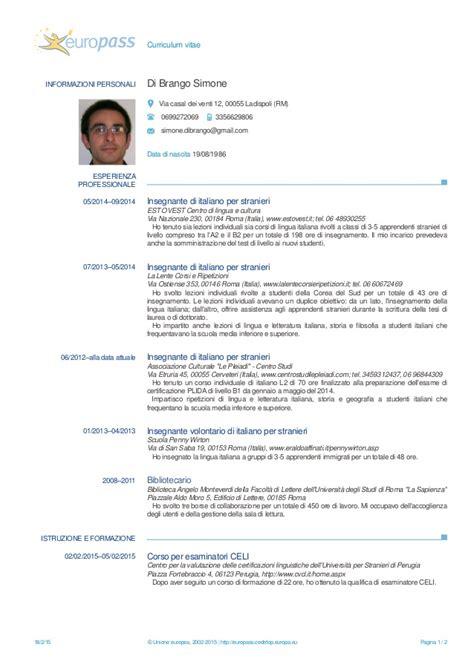 cv europeo 2015 simone di brango curriculum vitae