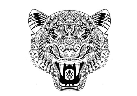 tiger mandala coloring page tiger tigers coloring pages for adults justcolor