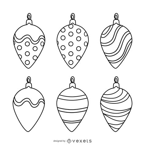 christmas ornament outlines printable decoration outlines set vector