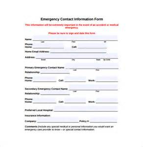 emergency contact form template free emergency contact forms 11 free documents in