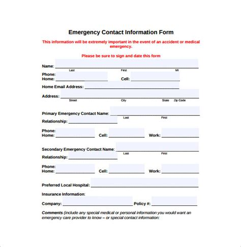 emergency contact form template emergency contact information form template motorcycle