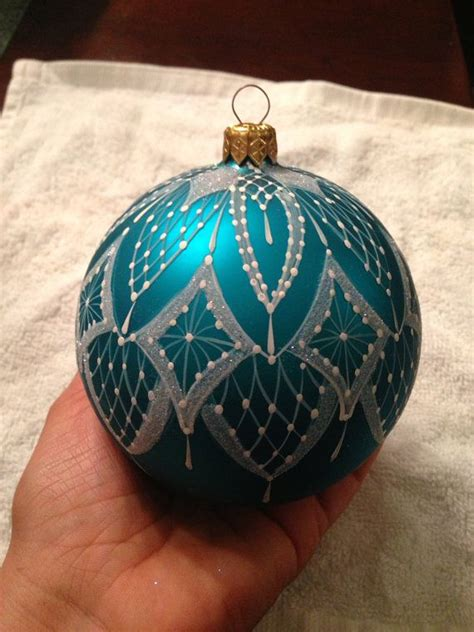 large hand painted lace christmas ornament turquoise