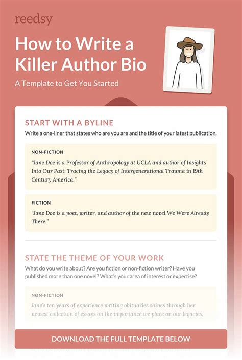 about the author template how to write a memorable author bio with template reedsy