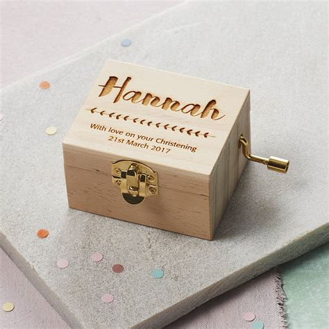 personalised christening music box by modo creative