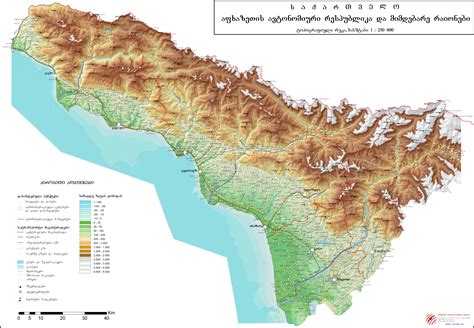 physical map of large detailed physical map of abkhazia abkhazia large