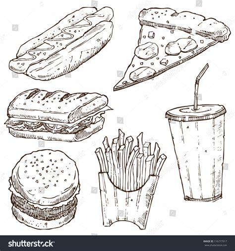 doodle god fast food fast food doodle vector set 116777917
