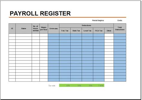 payroll spreadsheet template excel free payroll register template for excel 2007 2016