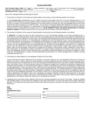 Equipment Lease Agreement With Option To Purchase Forms And Templates Fillable Printable Lease Rider Template