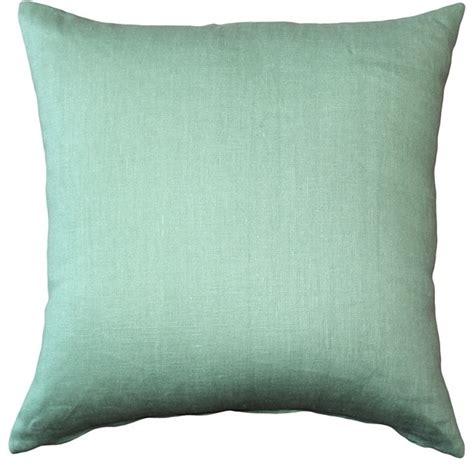 Contemporary Decorative Pillows Pillow Decor Tuscany Linen Aqua Green 20x20 Throw Pillow