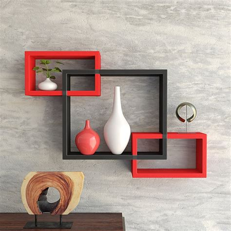 set of 3 rectangular intersecting floating shelves wall
