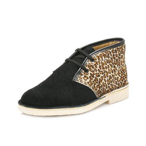 clarks infant black leopard desert boots