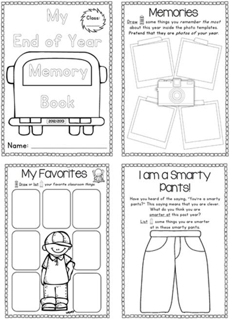 End Of The Year Memory Book And Activities Clever Classroom Blog Free Printable Memory Book Templates