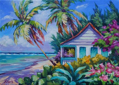 Seaside Cottage Plans Tropical Island Cottage Painting By John Clark