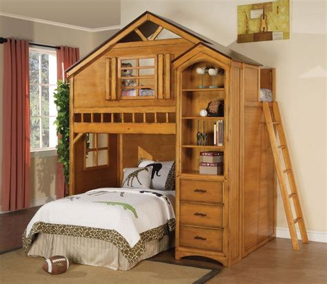 room loft bed with bookcase tree house design